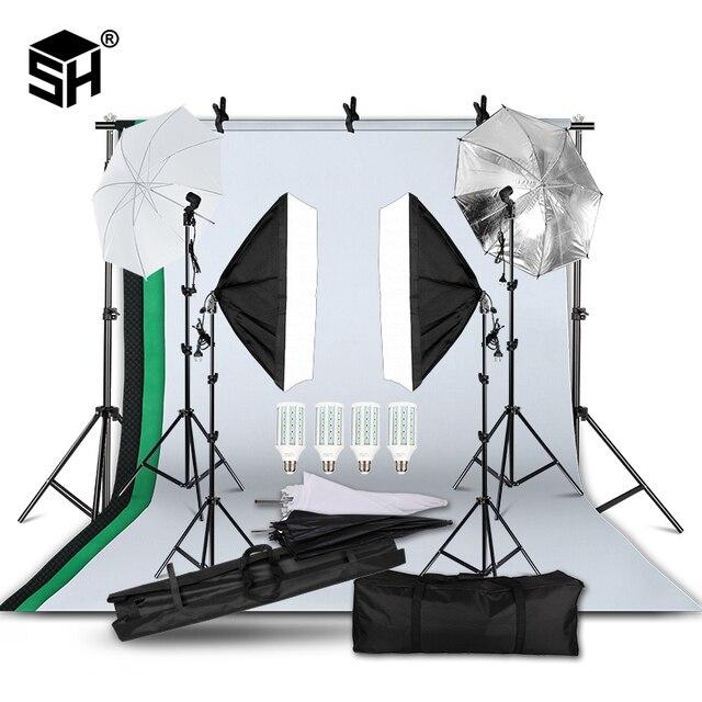 Kit de parapluie Softbox de système de soutien de fond de 2M x 3M pour le produit de Studio de Photo, les lumières de photographie de Portrait et de séance vidéo