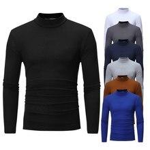 Outono Inverno Mens T-shirt dos homens Half-gola Assentamento Fina Térmica Fino de Algodão Quente Alta-necked Longo-sleeved T-shirt