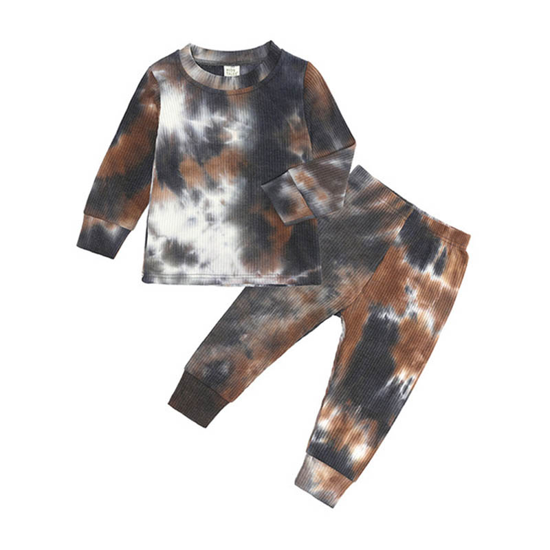 Boys Tie-Dye Suit Children Fashion New Casual Gradient Set Girls Dream Color Clothing Kids Spring Autumn Pajamas Home Wear 4