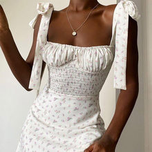 Floral Print Women Bow Tie Shoulder A-line Mini Dress Female Sexy Spaghetti Strap Ruched Dresses Backless Stylish Lady Vestidos