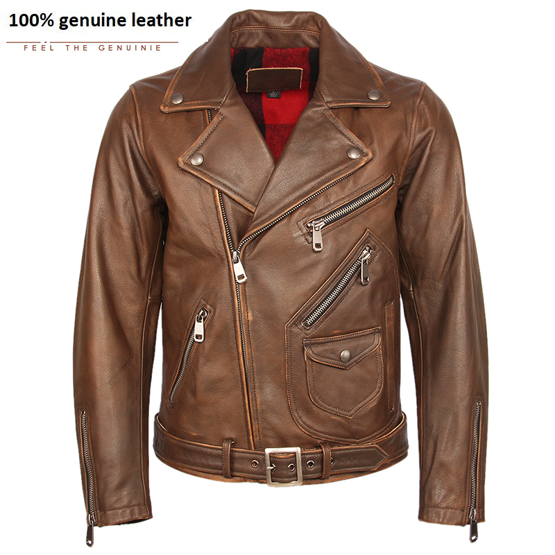 Vintage Motorcycle Jacket Men Leather Jacket Thick 100% Natural Cowhide Biker Jacket Moto Genuine Leather Coat Winter M457