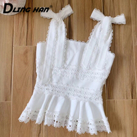 LINGHAN Vacation Embroidery Linen Camis Top Elegant Bow Ruffles Sexy sleeveless Tops Designer Spring Summer New