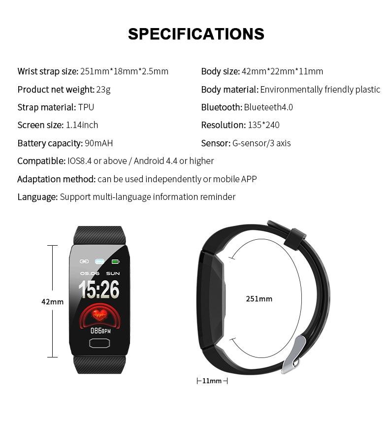 H100040941ba8433db35624c60b09758cS 1.14 Smart Band Weather Display Blood Pressure Heart Rate Monitor Fitness Tracker Smart Watch Bracelet Waterproof Men Women Kids