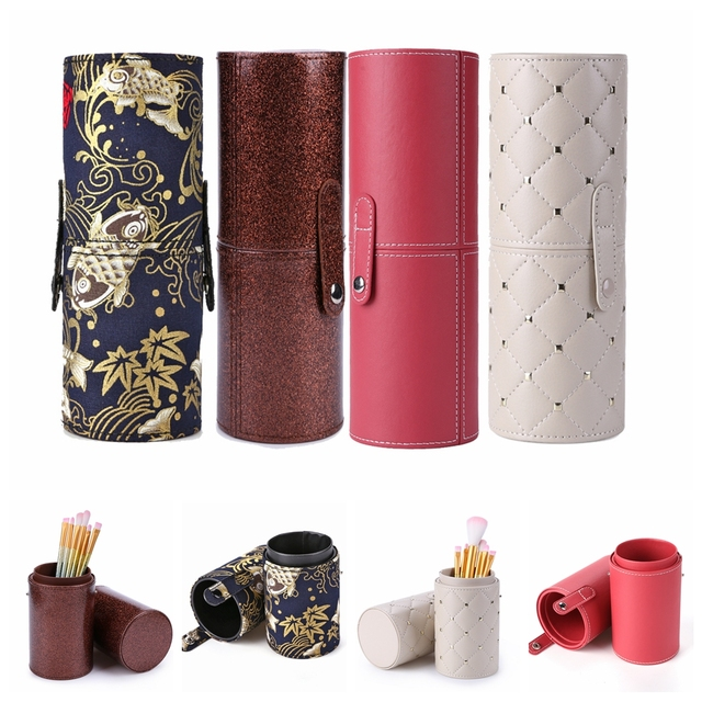 23CM PU Leather Empty Make up Brush Container Bag Holder Travel Cosmetic Brushes Pen Case Storage Brushes Organizer Makeup Tools 1
