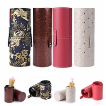 8.9'' Travel PU Leather Cosmetic Brush Pen Holder Storage Empty Makeup Organizer Rangement Maquillage  цены