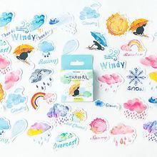 new fashion 46Pcs Cute Sun Cloud Weather Stickers  DIY Luggage Handbook Scrapbook Album Decor Water Proof Cartoon Design