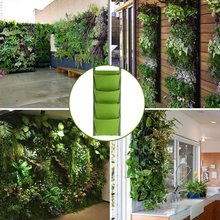4/7 Pockets Planting Bags Vertical Hanging Wall Gardening Plant Growing Bag Yard Garden Decoration Tools 30*70cm/100*30cm