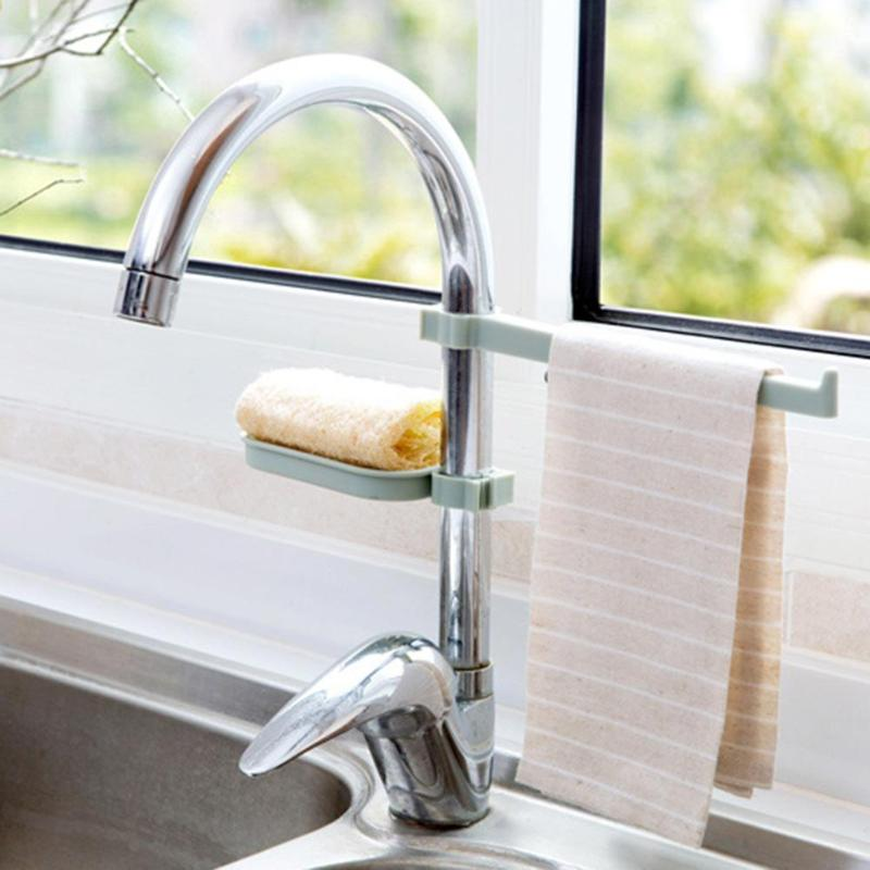 New 1 SET Sponge Bathroom Kitchen Faucet Clip Dish Cloth Shelf Drain Dry Towel Organizer Sink Hanging Storage Rack Storage