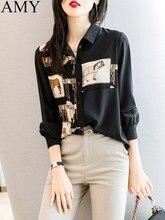 Koszula damska z długim rękawem damska bluzka duża luźna odzież damska starsza 2021 wiosna modny top czarna cienka bluzka szyfonowa koszula