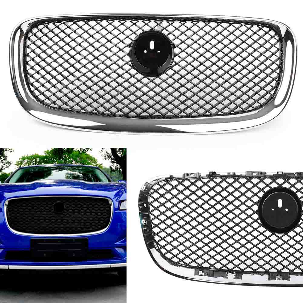 Auto Car Upper Front Grill Mesh Grille Replacement For Jaguar XF 2012 2013 2014 2015 Black Chrome w/ Emblem grille