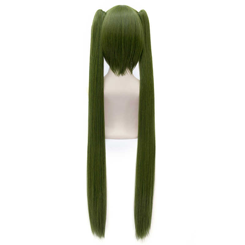Yüksek kaliteli Anime Vocaloid Senbonzakura Hatsune Miku Cosplay peruk koyu yeşil ayrılabilir atkuyruğu Atrovirens parti kostüm peruk