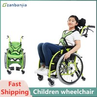 Child Wheelchair Small Size Lightweight Cerebral Palsy Portable Comfortable Child Wheelchair For Disabled With Pillow
