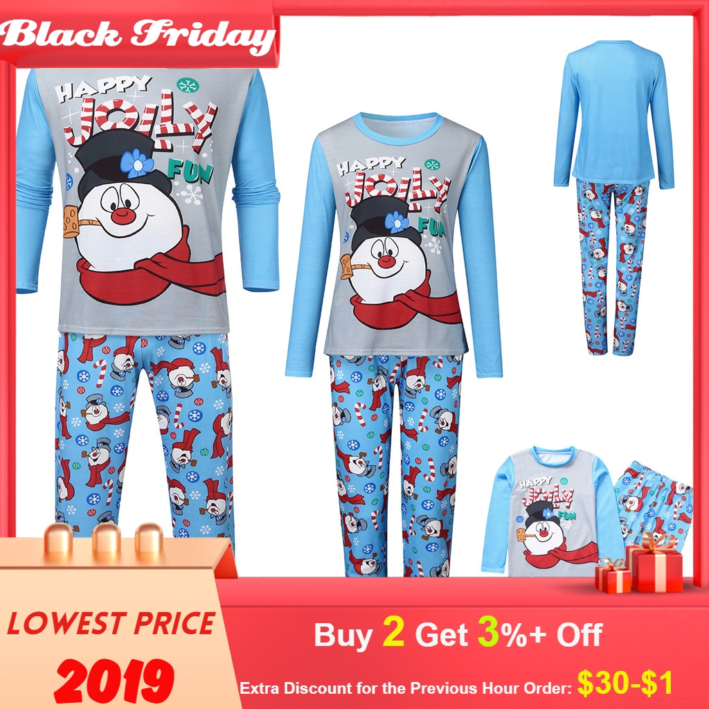 Christmas Family Matching Clothes Man Dad Printed Letter Top+ Print Pants Xmas Family Clothes Pajamas Pijama Navidad Familia