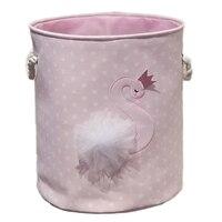 汚れ洗濯バスケットピンク白鳥オーガナイザーバスケット巾着収納バスケットのおもちゃの本 D35XH40cm 白鳥パターン -