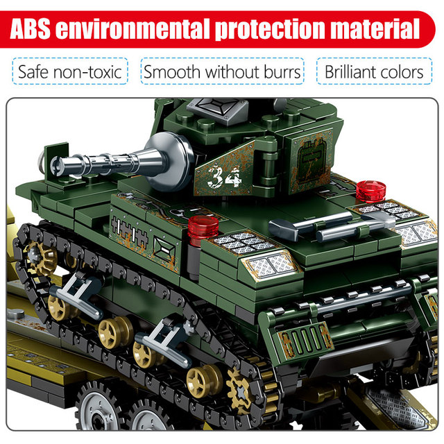 SEMBO 915pcs WW2 Landing Ship Trailer Building Blocks Military Tank City Police Truck Soldier Figures Bricks Toys for Boy