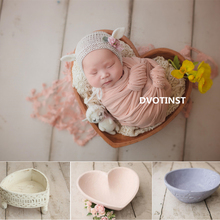 Dvotinst Newborn Photography Props for Baby Retro Posing Heart Plate Basket Tub Fotografia