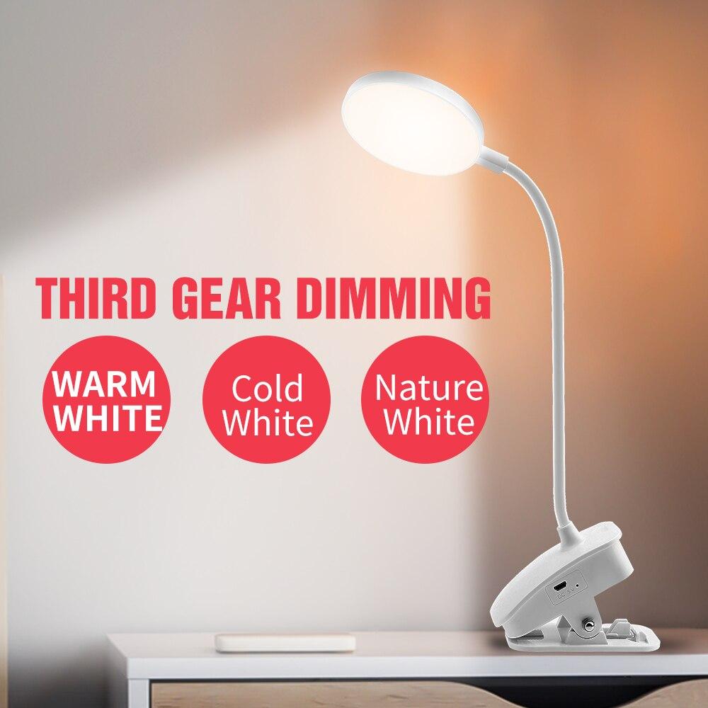 Duutoo 3 色調光デスクランプledタッチスイッチデスクトップ読み取るテーブルライトusbポータブル夜の光充電式 18650 バッテリー