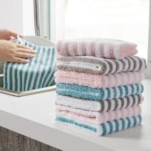 Stripe prato limpo toalha coral velo altamente absorvente limpar panos cozinha prato pote copos limpeza pano limpeza almofada