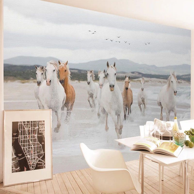 Custom Any Size Mural Wallpaper 3D Stereo Horse Animal Wall Painting Living Room Bedroom Home Decor Papel De Parede 3D Wallpaper image