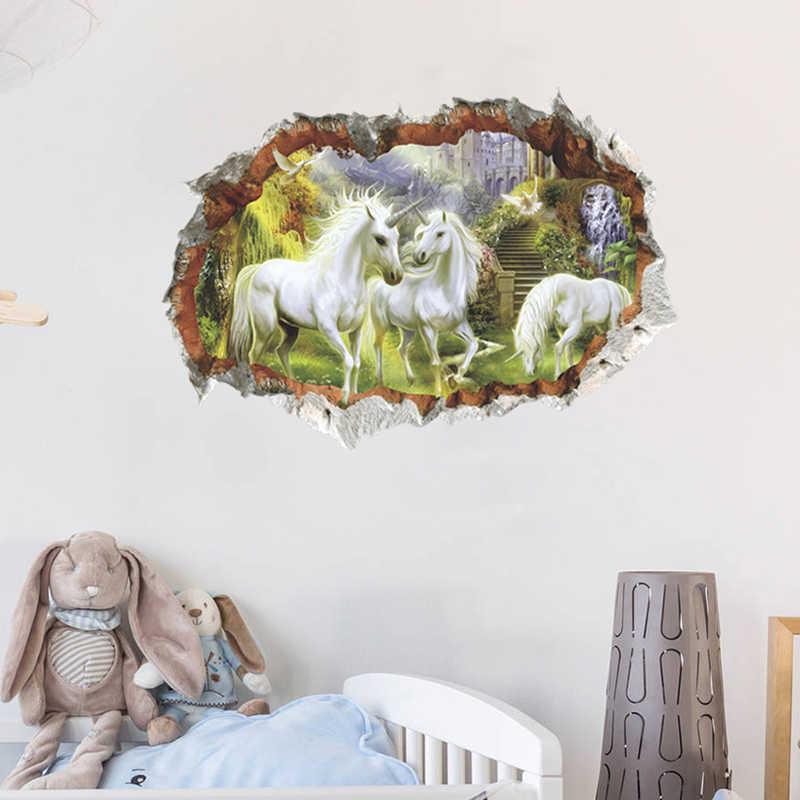 Forêt licorne Stickers muraux enfants chambre enfants tête de cheval chambre salon Stickers 3D effet décor à la maison mur Art Mural cadeaux
