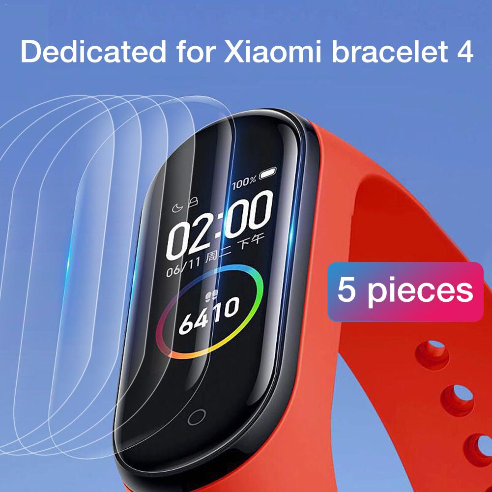 5Pcs Protective Tempered Film For Xiaomi Mi Band 4 Smart Wristband Bracelet Full Screen Protector 3D Hydrogel Film No Glass