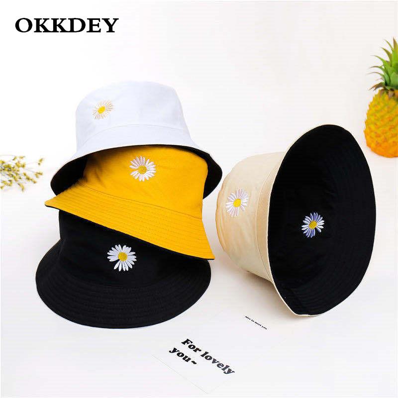 Unisex Bucket Hat Double Side Harajuku Outdoor Fishing Cap Women Men Cotton Sunscreen Hats Daisy Embroidery Fisherman Caps