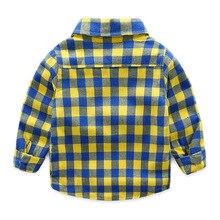 Детская одежда; коллекция года; зимняя бархатная рубашка для мальчиков; детская плотная рубашка в клетку с длинными рукавами; модная детская повседневная рубашка