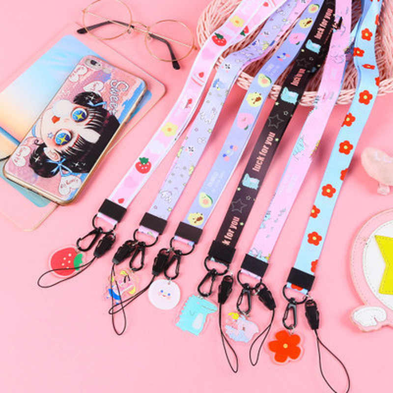 Multi-function Mobile Phone Straps Rope Cute Cartoon Pattern Strap Neck Lanyards For Phone Case Hang Rope Lariat For Name Card