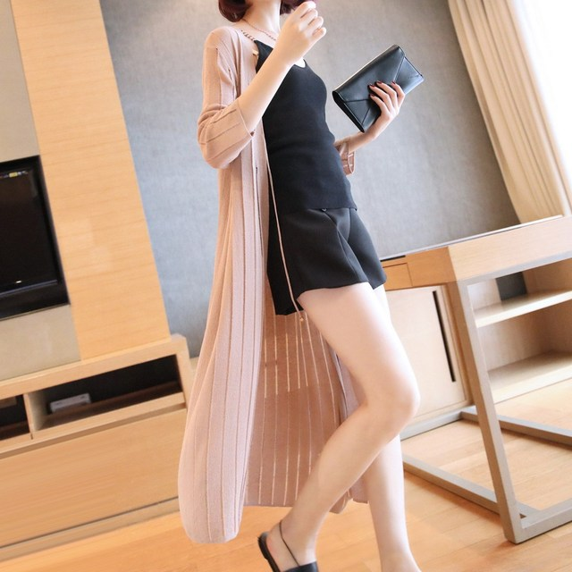Loose-Fit Casual Mid-length Thin Sweater Shawl Coat Women's 2020 New Style Summer Three-quarter-length Sleeve Cardigan Sweater 6