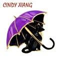 CINDY XIANG Emaille Fox Regenschirm Broschen Für Frauen Katze Hund Tier Pin Brosche Nette Lebendige Design 3 Farben Vorhanden Gute geschenk