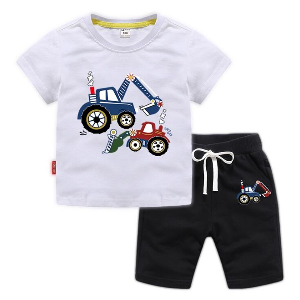 Children's short sleeve set boys' summer cartoon printed boy's T-shirt and shorts 2PCS cotton Kids suit for 1-10y old Clothing