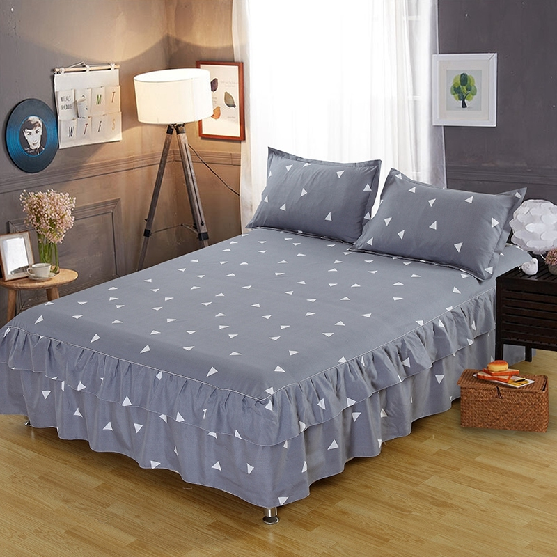 Grey Geometric Prints Ruffle Bed Skirt Thicken Elastic Non-slip Bedspreads Sheet Soft Mattress Cover No Free Pillowcase With Traditional Methods