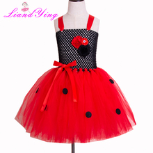 Children Ladybug Costume Cute Party Fancy Girls Tutu Dress Kids Dresses for Birthday Halloween Christmas Cosplay