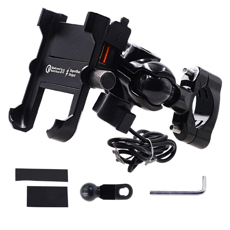 Водонепроницаемый металлический мотоциклетный держатель для смартфона с быстрой зарядкой USB QC 3,0, держатель-подставка на руль мотоцикла Зе...
