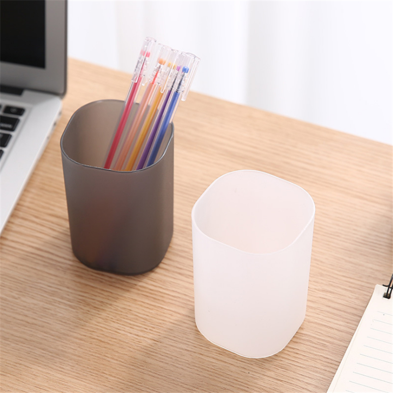 1PCS Desktop Transparent Pen Holder Scrub Simple Storage Box Multi-function Office Stationery Storage Tube Student Stationery