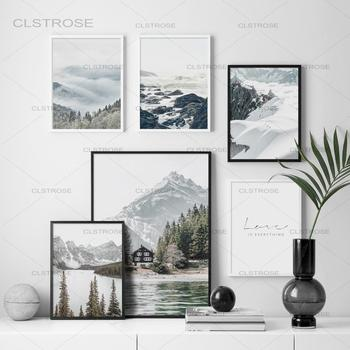Lake Pine Forest Wall Art Canvas Painting Fog Reef Snow Mountain Nordic Posters And Prints Wall Pictures For Living Room Decor blue sky snow mountain forest landscape wall art canvas painting nordic posters and prints wall pictures for living room decor