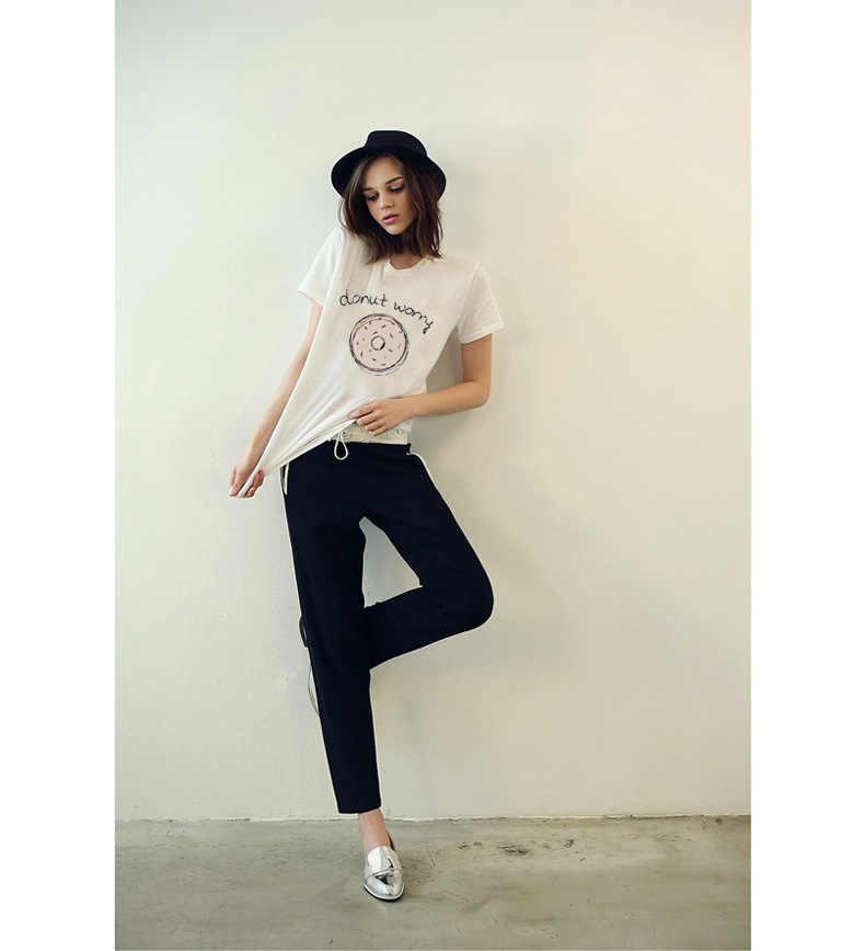 Pączek martwić nadrukowane litery damskie T-shirt bawełniane, w stylu harajuku kobiet T-shirt lato styl Camiseta Mujer odzież topy