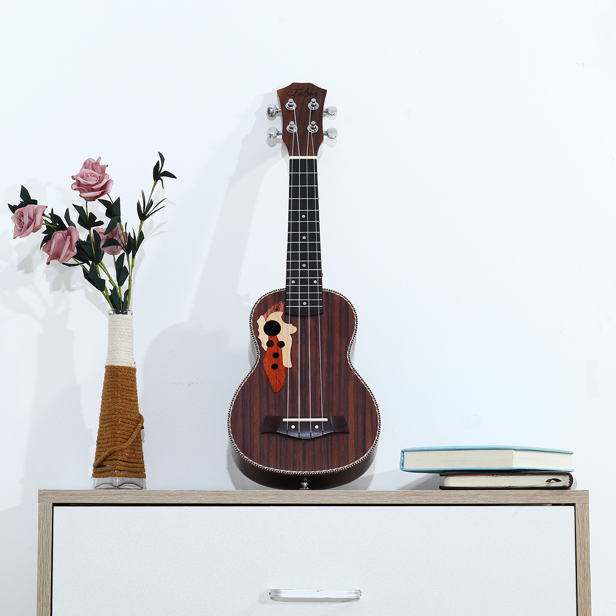 21 Inch Four Strings Musical Instrument Ukulele Guitar With Grape Shape Holes Kids Guitar Toys Student Beginner School Play