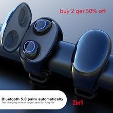 Fone de ouvido bluetooth sem fio 5.0 na orelha esportes pulseira para criativo tws relógio pulso mãos livres fone sem fio tampões