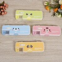 Kawaii caixa de lápis bonito smiley expressão plástico alta capacidade caneta caixa para crianças lápis armazenamento artigos de papelaria suprimentos fornecimento