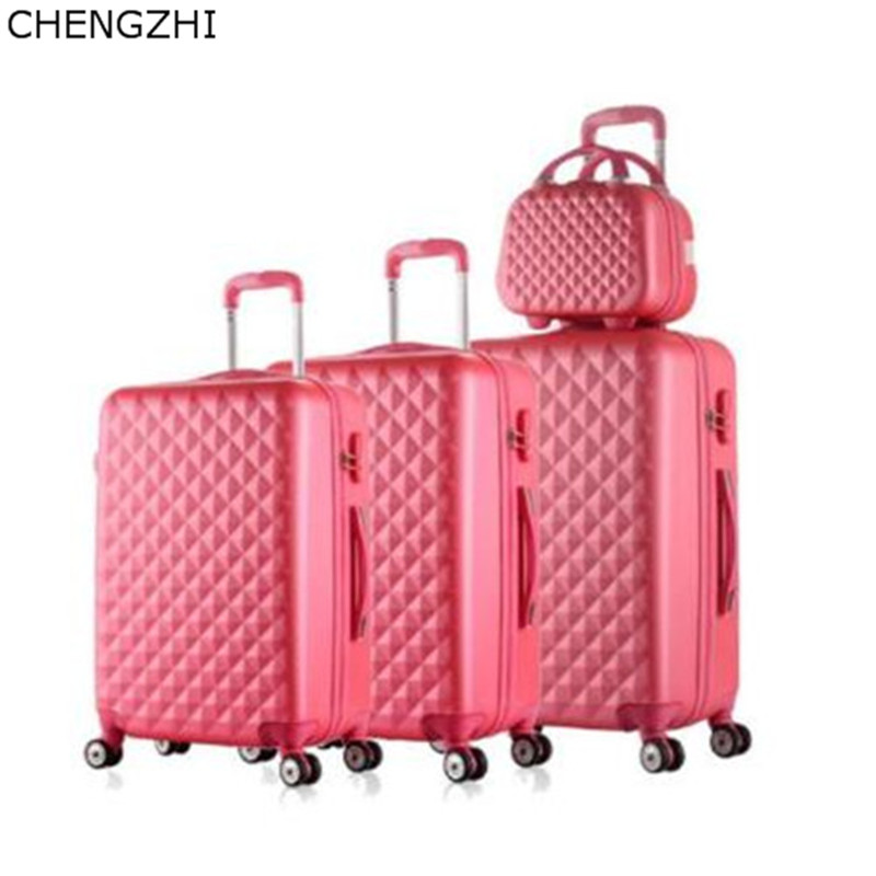 CHENGZHI Retro Students Rolling Luggage Spinner On Wheels Women Travel Suitcase With Cosmetic Bag Girls Trolley Luggage Sets