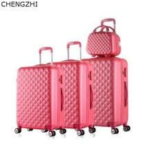 CHENGZHI Retro studenten rolling bagage spinner op wielen vrouwen reizen koffer met cosmetische tas meisjes trolley bagage sets
