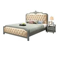 Твердая деревянная кровать американская кантри кожа мягкая 1,8 м двуспальная кровать спальня дубовая кожа арт 1,5 м свадебная кровать