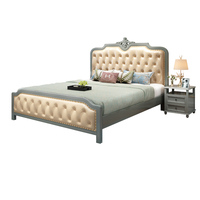 Solid wood bed American country leather soft 1.8 m double bed master bedroom oak leather art 1.5m wedding bed