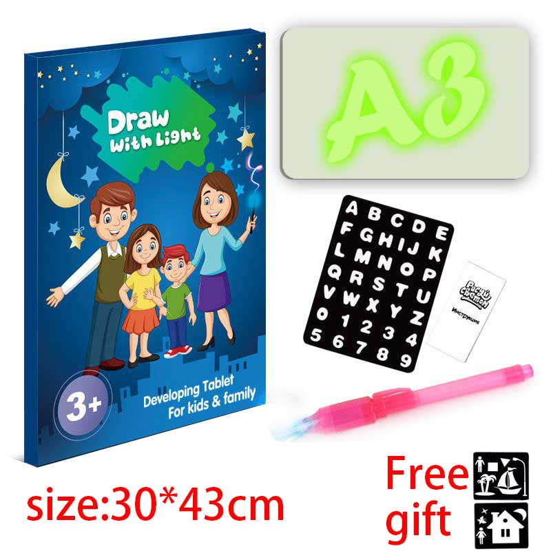 Tablet For Drawing Board With Light Painting A Toys For Boys Children's Creativity Magic Ray  Educational Toys Paint  Goods