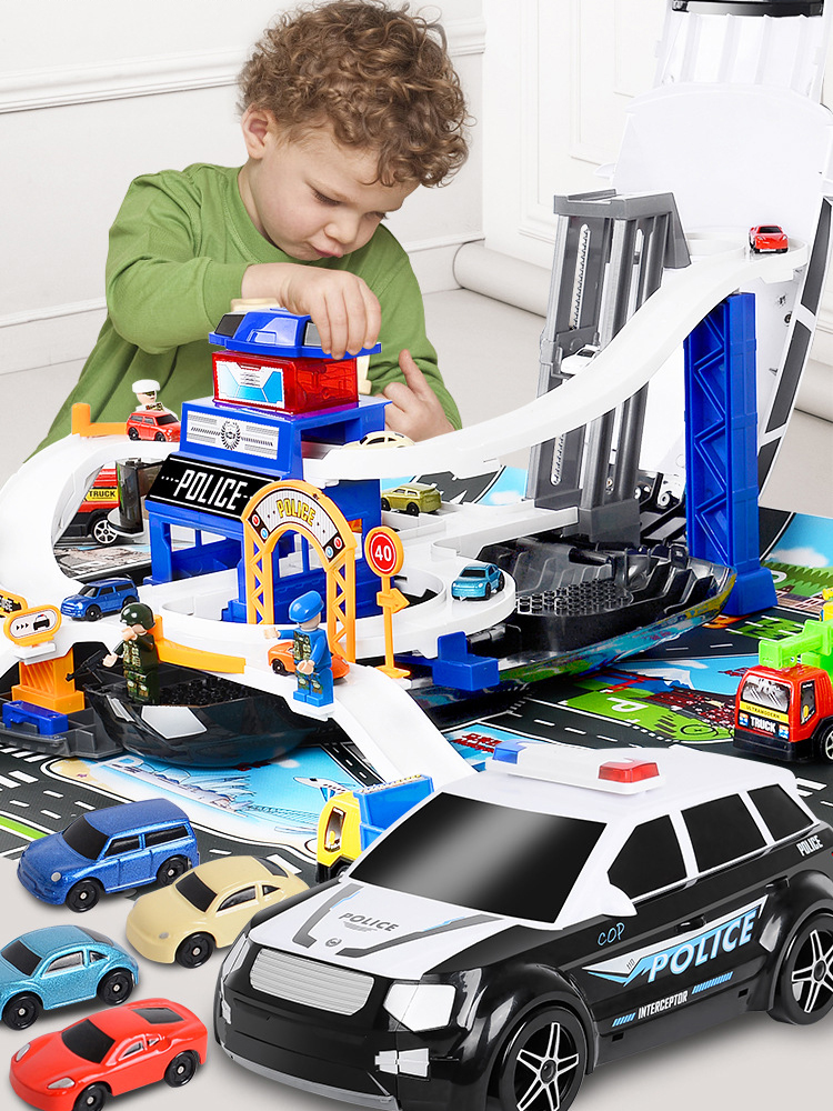DIY Racing Tracks Electric Car Toys Parking lot with Light Music Track toy Storage box collection baby gift Children toy car