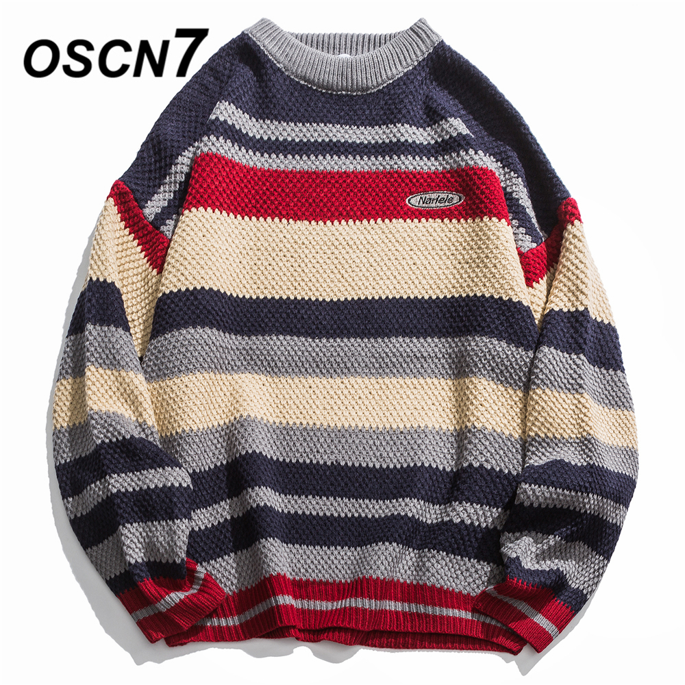 OSCN7 Funny Stripe Sweaters Men 2019 Autumn High Streetwear Fashion Womens Pullovers Round Neck Vintage Sweaters 8976