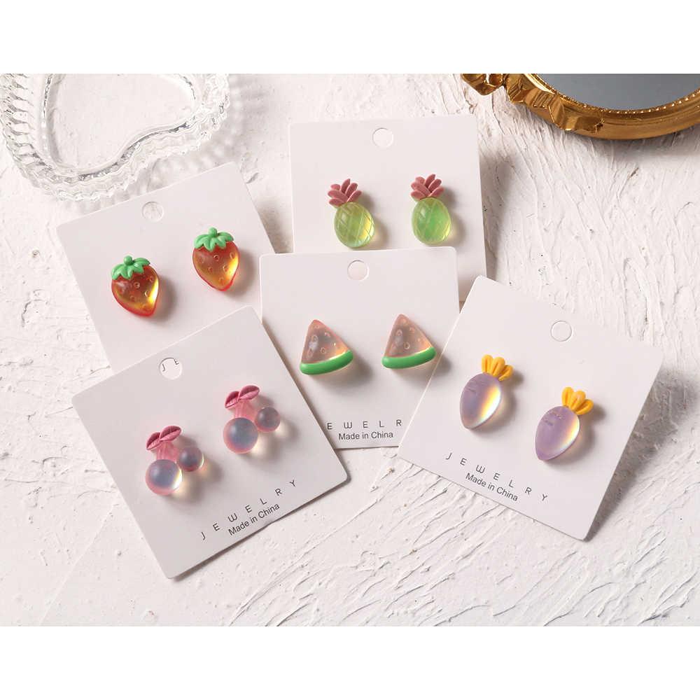Crystal Strawberry Stud Earrings Fruit Earrings Tropical Earrings Kawaii Earrings Chic Earrings  Korean Style Earrings Gifts for Her