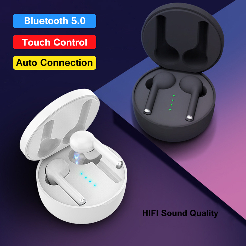 True Wireless Bluetooth Earphone 5.0 For Phone Smart Touch Control Noise Reduction HIFI Stereo Music TWS Earbuds With Microphone