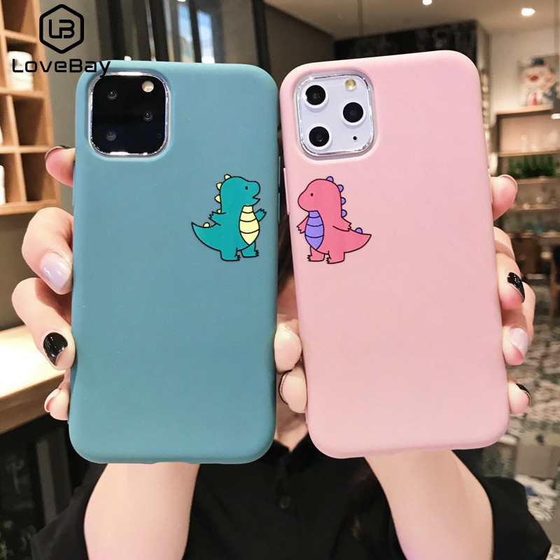 Lovebay Cartoon Lovely <font><b>Dinosaur</b></font> Phone <font><b>Case</b></font> For <font><b>iPhone</b></font> 11 Pro Max X <font><b>7</b></font> 8 8plus XR XS Max 6S 6Plus Covers Soft TPU Candy Color <font><b>Case</b></font> image